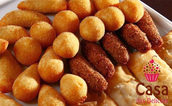 PADARIA E CONFEITARIA CASA DAS DELÍCIAS no TATU!!! 100 Salgadinhos para Festas. Três opções: Fritos, Assados ou Congelados. Escolha entre 8 tipos de salgados