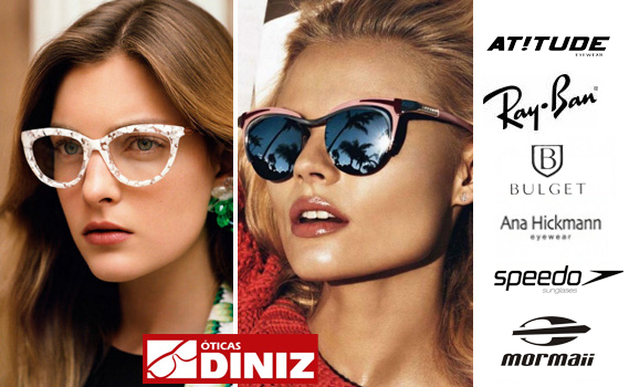 IMPERDÍVEL!!! Desconto de R$ 100,00 em Óculos de Sol, Óculos de Grau Completo com Lente e Armação nas Óticas Diniz (Unidade Walmart)