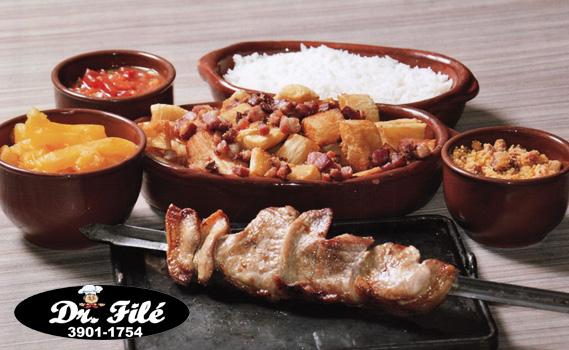 AGORA VAMOS DE PICANHA SUÍNA!!! Mais de 2 KG DE PORÇÃO: Picanha Suína (400g) + Arroz (500g) + Mandioca (500g) + Vinagrete + Mandioca Frita com Bacon (1 kg)