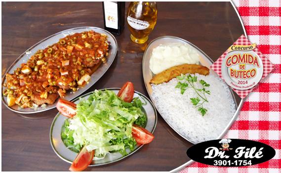 PARMEGIANA CARIOCA NO TATU. 01 Porção de Filé Mignon à Parmegiana Carioca: Filé Mignon à Parmegiana + Arroz + Alface + Tomate + Purê de Batata + Banana à Milanesa