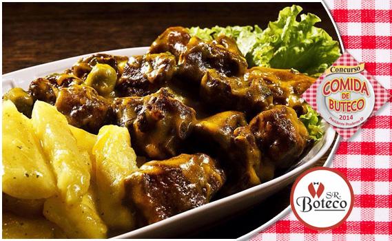 """ESPECIAL """"COMIDA DE BUTECO""""!! 1 Kg de Porção: Costelinha de Porco ao molho Mostarda ou Barbecue + Mandioca Frita ou Cozida + Vinagrete por apenas R$ 19,90"""