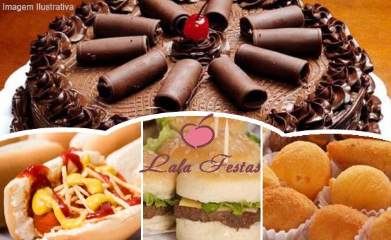 FESTA COMPLETA PARA 60 PESSOAS!!!! 400 Salgadinhos + 100 Lanchinhos (mini hot dog ou mini hambúrguer) + 200 Docinhos + 01 Bolo Doce Personalizado de 6 Kg.