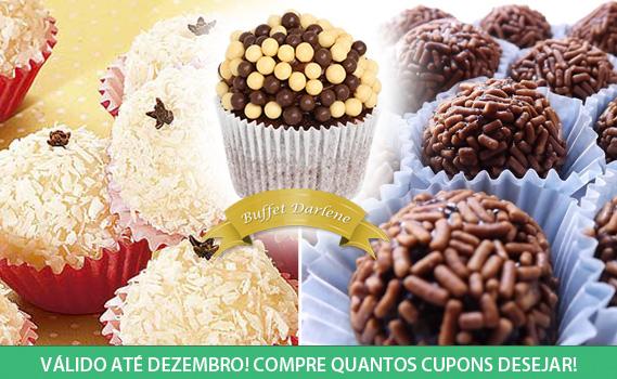 DOCES BUFFET DARLENE! 100 Docinhos para Festa por Apenas R$ 19,99: Chocoball, Brigadeiro ou Beijinho.