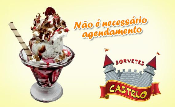 DELÍCIA DE OFERTA!!! 01 Taça de Sundae: 02 bolas de sorvete + 02 Coberturas + Chantilly + Castanha + Cereja + Waffer Na Sorveteria Castelo (UNIDADE COHAB)