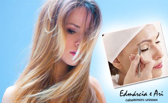 ARRASE NESTE FINAL DE ANO! Escova Progressiva OU Marroquina OU Luzes OU Californiana OU Ombré Hair + Hidratação + Design de Sobrancelha