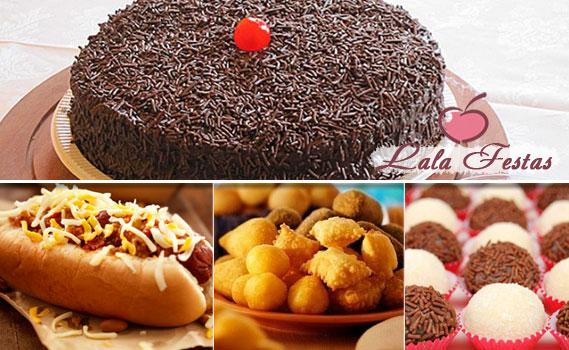 FESTA COMPLETA PARA 100 PESSOAS!!!! 600 Salgadinhos + 100 Lanchinhos (mini hot dog ou mini lanche frio) + 300 Docinhos + 01 Bolo Doce Personalizado de 7 Kg. Até Abril