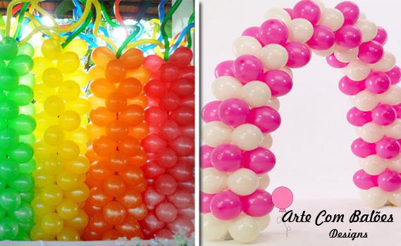 Balões para a sua Festa! Decoração de Balões. Escolha: entre Arco Comum, Arco Personalizado ou Coluna Comum na Arte com Balões Designs por Apenas R$ 39,90