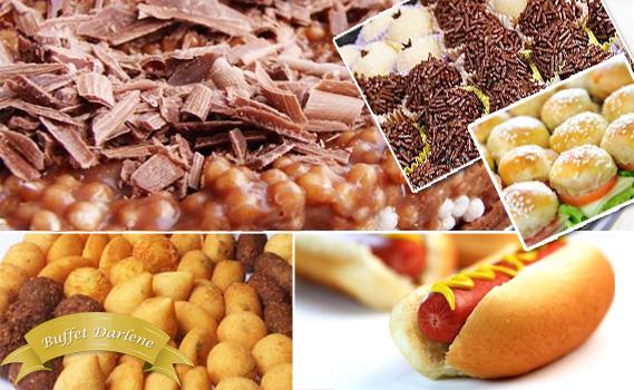MAIOR FESTA PRONTA! P/100 Pessoas! São 600 Salgadinhos + 100 Hot Dogs ou Lanches Frios + 1 Bolo Doce 7kg + 400 Docinhos por 12x R$ 28,35. Use até JULHO!