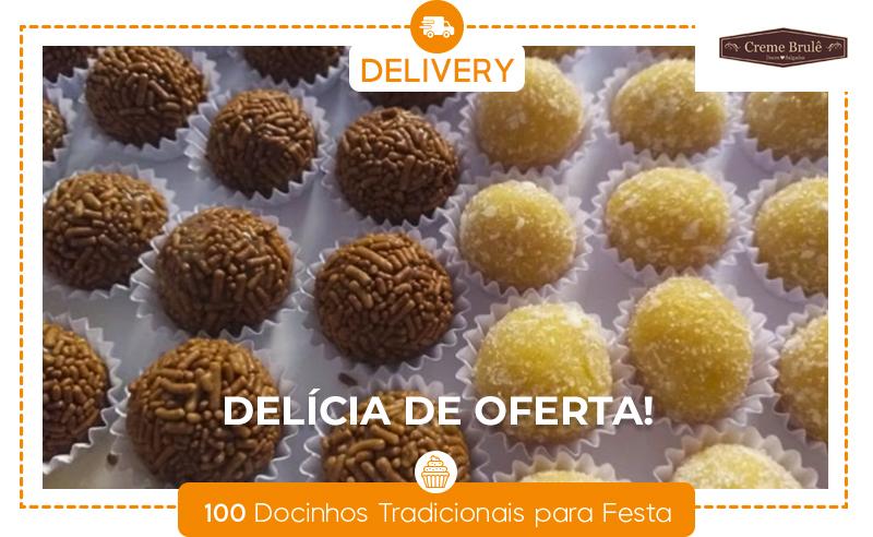 100 Docinhos Tradicionais para Festa: Brigadeiro e/ou Beijinho