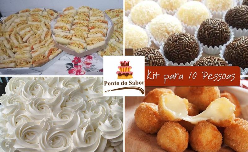 Kit Festa para até 10 pessoas: salgados, bolo e mais